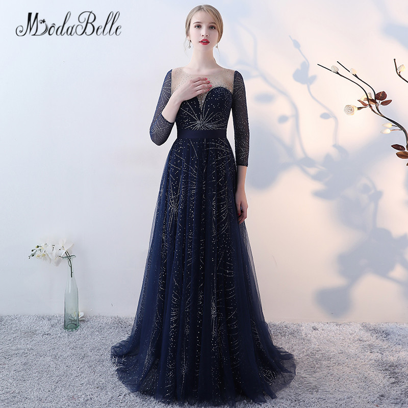 modabelle Tulle Dark Blue Prom Dress With Stars Sequins Women Bling Evening  Dress Long Sleeve 2018 Luxus Prom Gown 1e54ca09860f