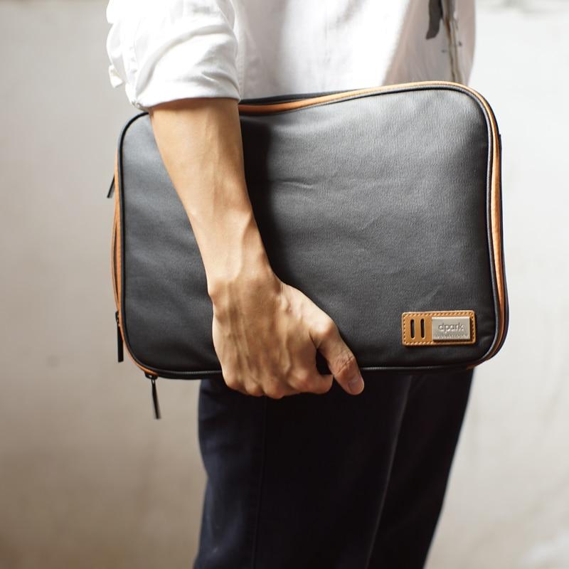Bolsa impermeável da luva do portátil da lona com punho & bolsos para macbook ar/pro retina 13 polegadas/asus ou 14/15 polegadas portátil