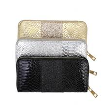 KANDRA 2019 PU Leather Croc Embossed Patchwork Sequined Glitter Wallet Gold Silver Women Long Wallets Cards Holder Wholesale