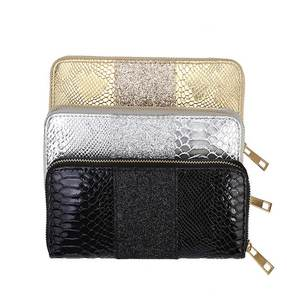 KANDRA 2019 PU Leather Croc Embossed Patchwork Sequined Glitter Wallet Gold Silver Women Long Wallets Cards Holder Wholesale(China)