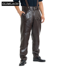 Brown Mens Luxury Cowhide Trousers Plus Size Loose Genuine Real Leather Pants Man Zippers Motorcycle Riding Pants Winter Warm