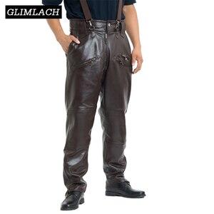 Image 1 - Bruin Heren Luxe Koeienhuid Broek Plus Size Losse Echt Echt Lederen Broek Man Ritsen Motorrijden Broek Winter Warm