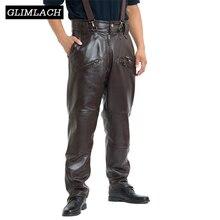 חום Mens יוקרה עור פרה מכנסיים בתוספת גודל רופף אמיתי אמיתי עור מכנסיים איש רוכסנים אופנוע רכיבה מכנסיים חורף חם