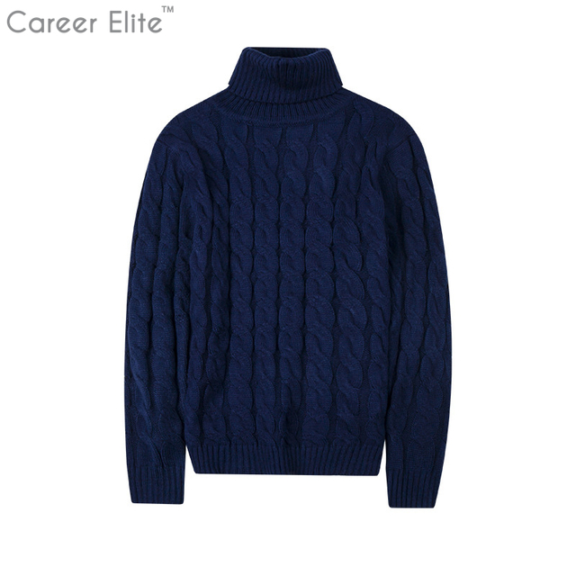 High Neck Thick Warm Sweater Men Turtleneck Brand Solid Men s Sweaters Slim  Fit Pullover Man Knitwear Male Double Collar Winter-in Pullovers from ... 00b855ff2
