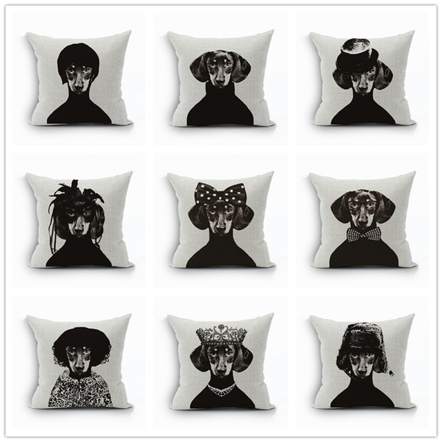 Linen Pillow Cover Vintage Dachshund Dog cavalier king charles spaniel Pattern Cushion Cover Home Decorative Pillow Case 45x45