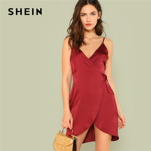 938c526037c3 SHEIN Nightdress Burgundy Sleepwear Dress Women Sexy Dresses Night Dress  Nightwear Knot Front Cami Spaghetti Strap Summer Dress