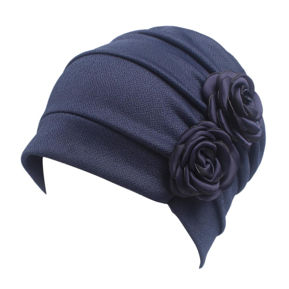 New Women Elegant Double 3d Flower Chemo Beanie Cap Sleep Turban Hat Liner For Cancer Hair Loss Caps Bonnet