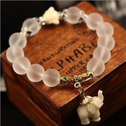 Natural matte crystal bracelets for women fashion super sweet elephant women bracelet wholesale retail 048