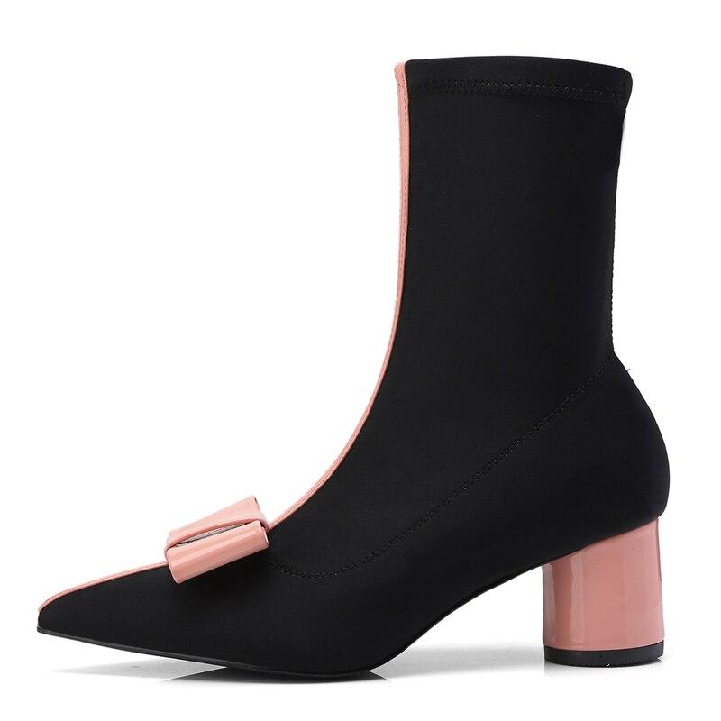 Del Diseño Botas Nudo Mariposa Marca Tobillo Sexy Dedo Negro Heelsboots La Pie Elásticos rosado Tacón Stylesowner Elegante De Mujeres Calcetines Alto wqgEXxnIS1