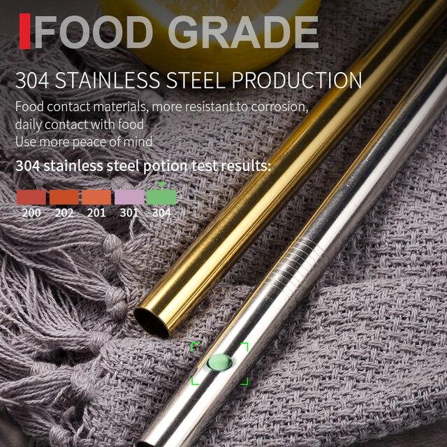 Riutilizzabile In Metallo Cannucce 4/8Pcs 304 In Acciaio Inox Robusto Piegato Dritto Bevande Paglia 3