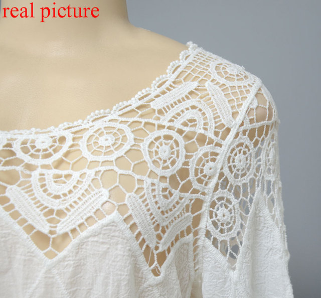 New women lace beach dress splice casual white mini dresses sexy hot hollow out vestidos femininos 2017 solid swimwear output