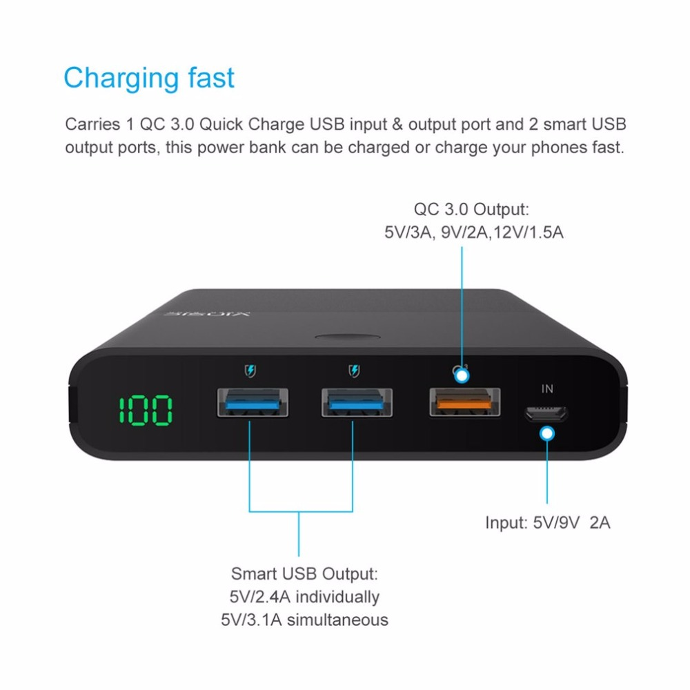 VINSIC 28000 mah Große Kapazität Power Bank Mit QC3.0 Ausgang Handys Externe Batterie Pack Dual USB Ausgang Telefon Ladegerät