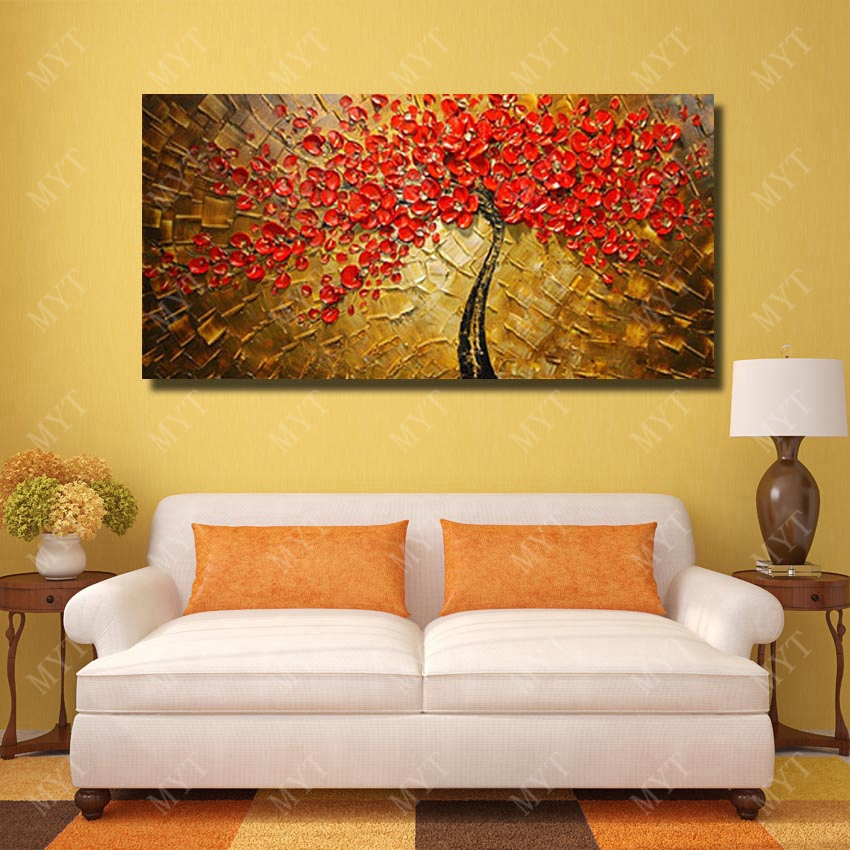 Modern Living Room Wall Decor Beautiful Red Flower Oil Painting ...