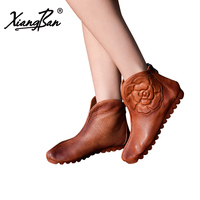 Brand Leather Woman Shoes Boots Flat Summer Ankle Boots Women Soft Bottom Ladies Shoes Casual Xiangban