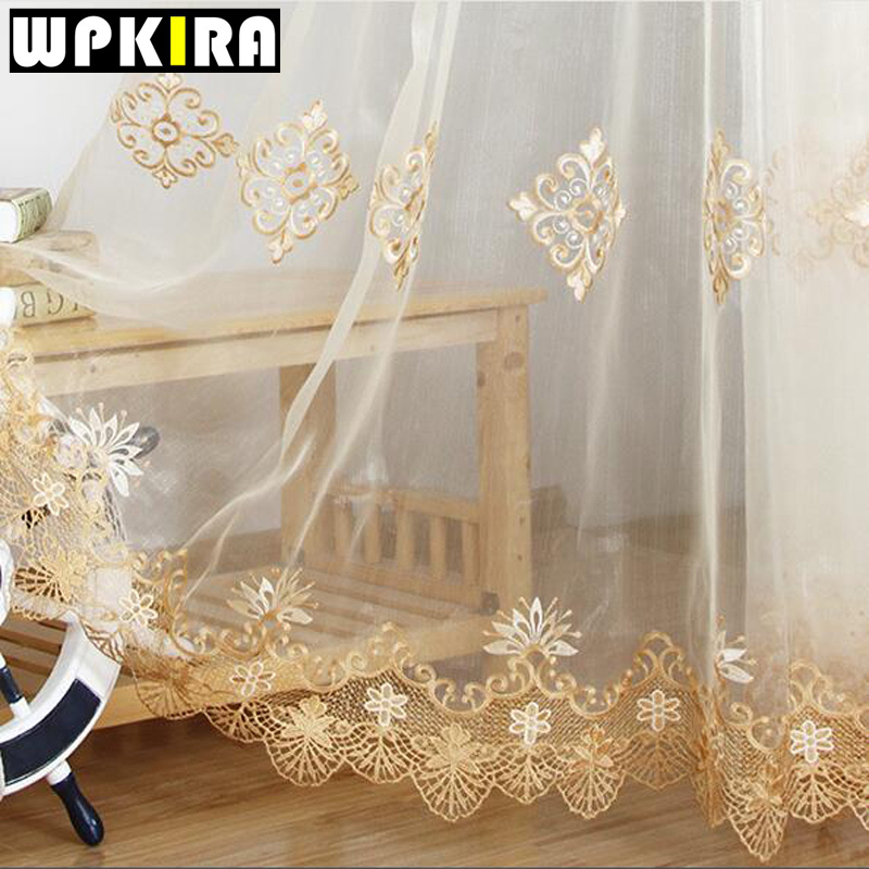 luxury embroidered sheer voile curtains window drapes cortina for living room door gold lace curtains tulle - Window Sheers
