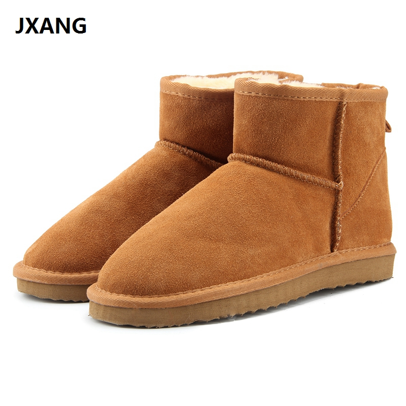 JXANG High-quality Australia Classic Women Snow Boots 100% Genuine Leather Ankle Boots Warm Winter Boots Woman Shoes