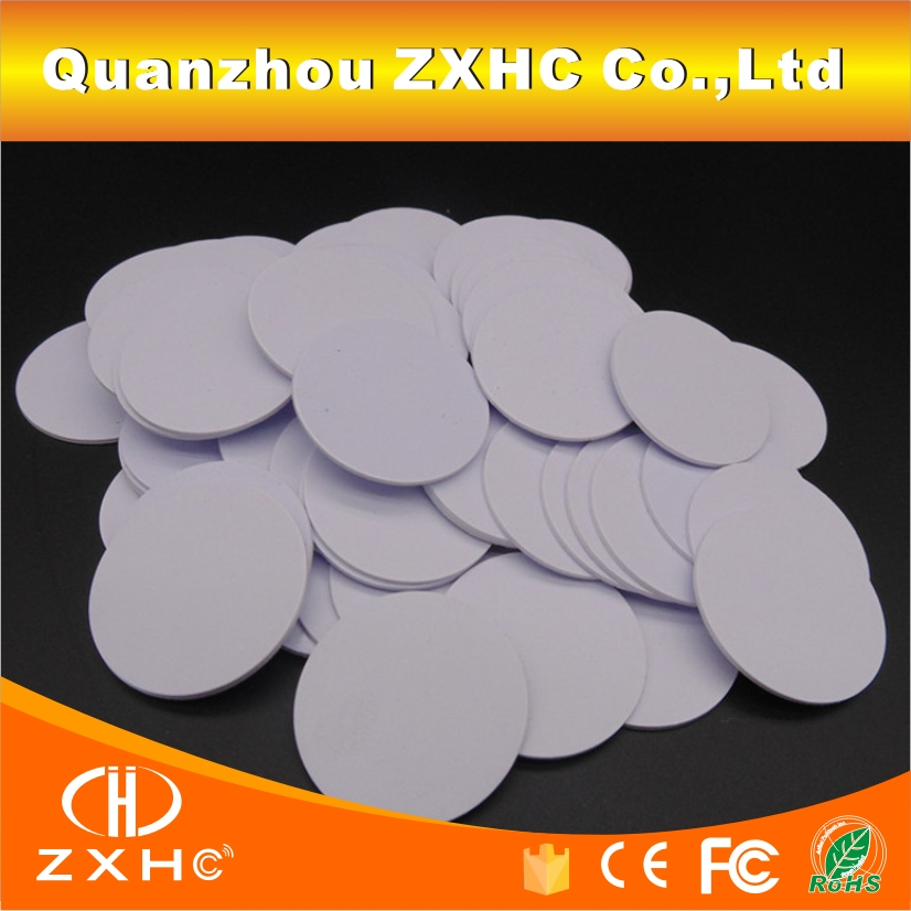 (100PCS/LOT) Tk4100(EM4100) 125khz Read-only RFID Smart ID Tags Waterproof 25mmx1mm PVS Coin Cards In Access Control