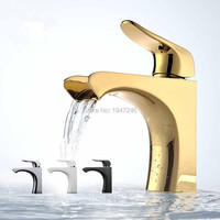 Rozin Chrome Finish Waterfall Spout Single Lever Bathroom Basin Faucet Deck Mounted One Hole Sink Mixer
