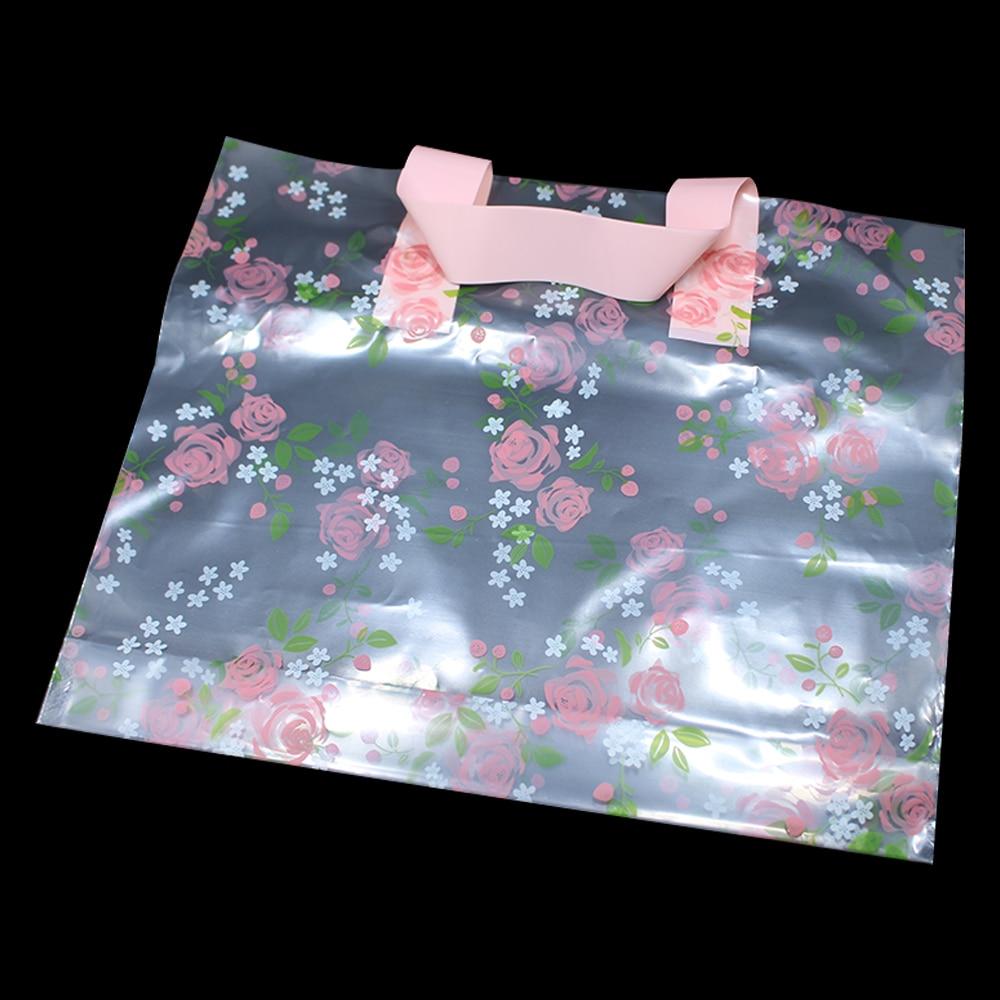 DHL Wholesale 150 Pieces Reusable Transparent Plastic Handles Bag Supermarket Shopping Goods Packaging Portable Pouch Bags ...