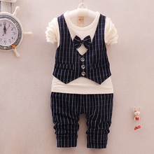 High Quality Boy Spring/Autumn Set 2016 Casual Kids Suits Bow Tie Childrens Suit Toddle Boy Clothes 2pces Formal Sport Tracksuit
