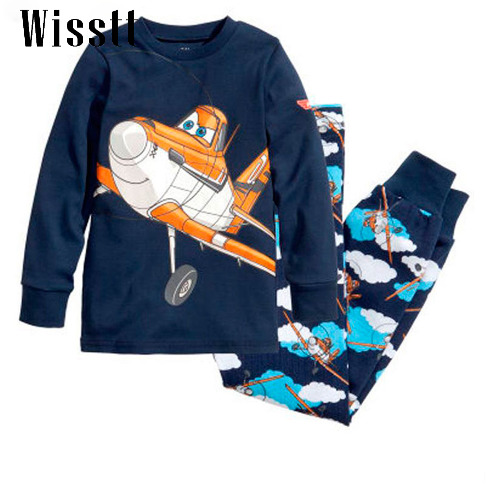 Wisstt New Cartoon Kids Planes Pajamas Set Boys Long Sleeve Spring Autumn Sleepwear Clothing Baby Pyjamas Suit Children Costumes