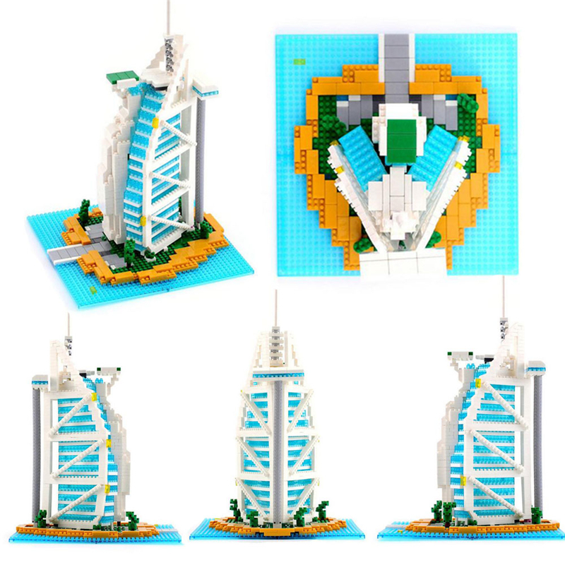 1095PCS Burj Al Arab Hotel Building Bricks Small Plastic Bricks Construction Diamond Block Educational Model Toys For Children 2017 world famous architecture burj al arab dubai the united arab emirates building block model standard brick size city toys