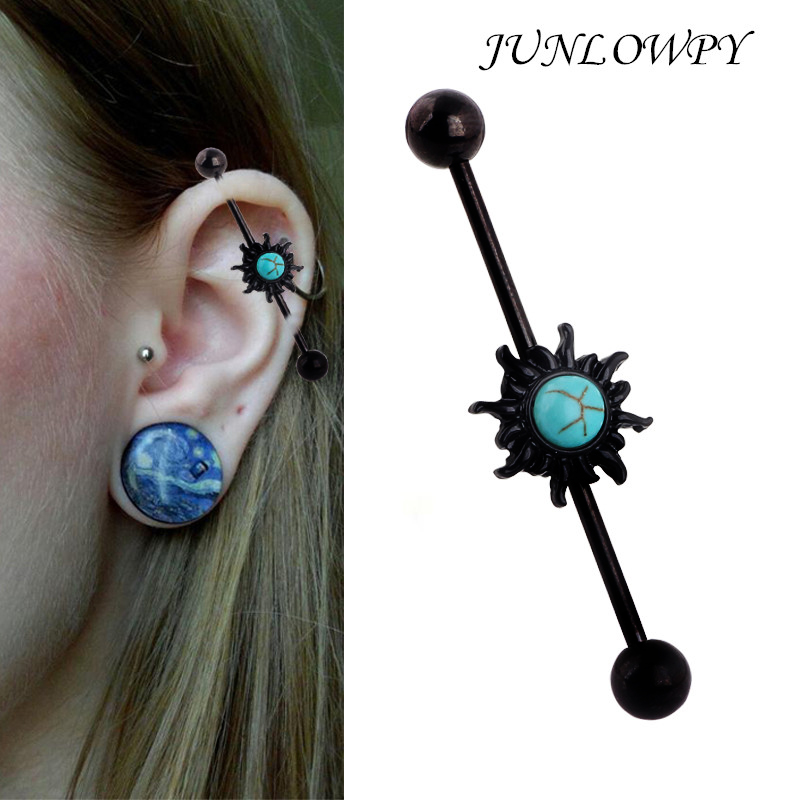Junlowpy 14 Gauge Basic Industrial Barbell Body Jewelry 38mm Long