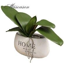 1 adet Phalaenopsis yaprak yapay bitki yaprağı dekoratif çiçekler yardımcı malzeme çiçek dekorasyonu orkide yaprakları gerçek dokunmatik
