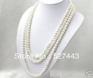Wholesale free shipping >>SUPER LONG 80 INCHES 7 8MM WHITE AKOYA CULTURED PEARL NECKLACE