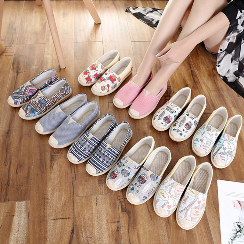 New Fashion Women Canvas Slip-On Shoe Shoes Breathable Durable Anti-slip Espadrille for Summer  MSJ99