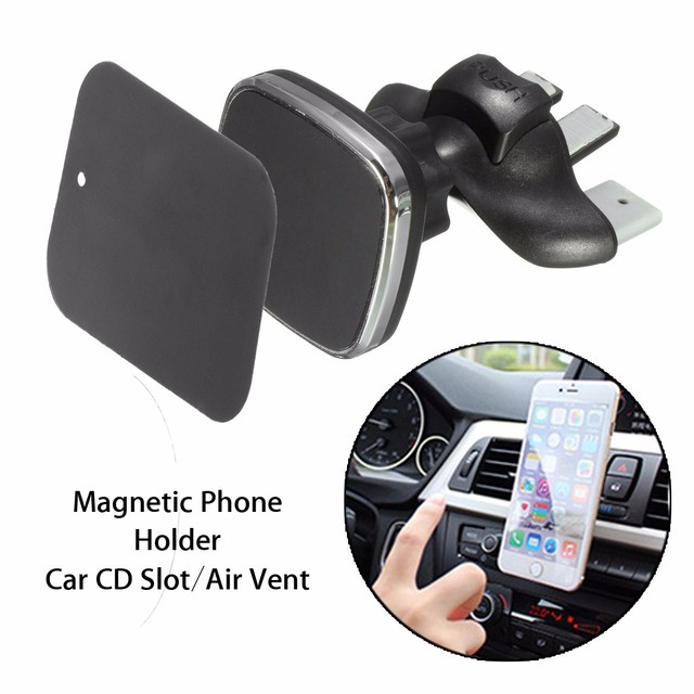 US $7 55 16% OFF|Magnetic Car Phone Holder Clip 360 Degree Adjustable Car  CD Slot Air Vent Mount Stand Bracket Universal For iPhone for Samsung-in