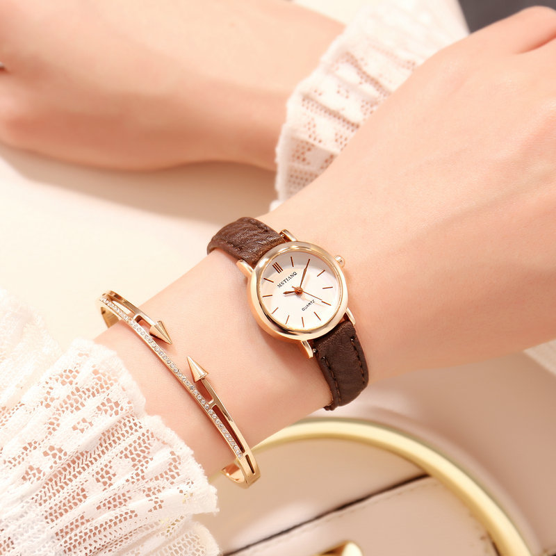 Minimalist Simple Stylish Women Ultra Thin Quartz Watches Golden Leather Ladies Exquisite Casual Wristwatch Female Small Watch