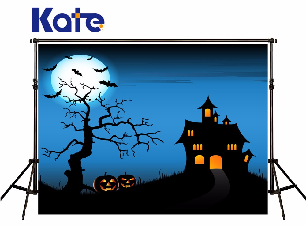 Kate Backdrops Photography Halloween Blue Pumpkin Bat Background For Children Moon Photographic Studio