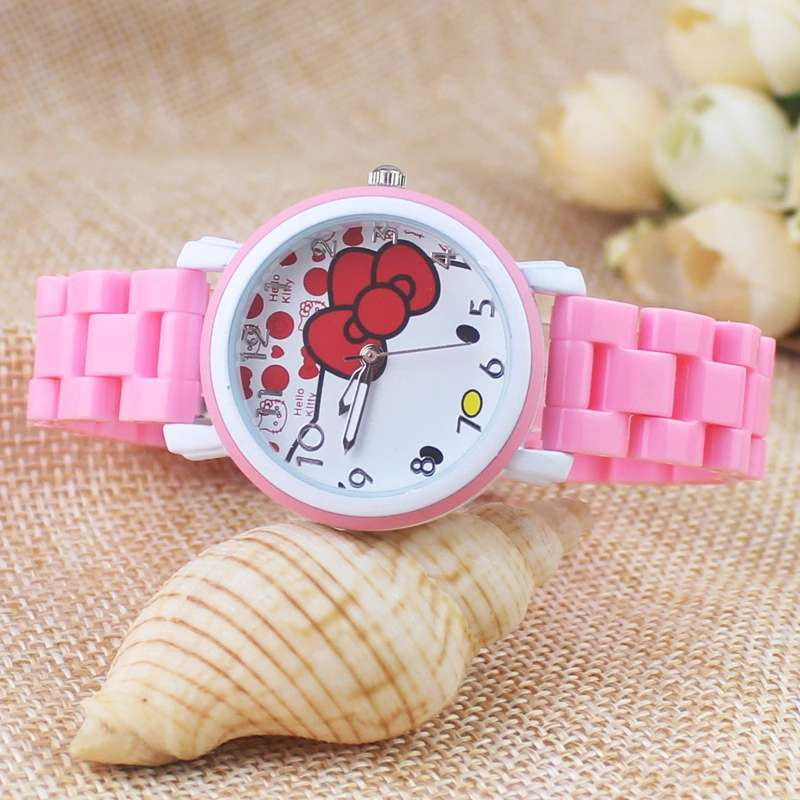 Girls Favorite Cartoon Hello Kitty Fashion New Simplified KT Cat Quartz Student Fashion Watch Gift Table