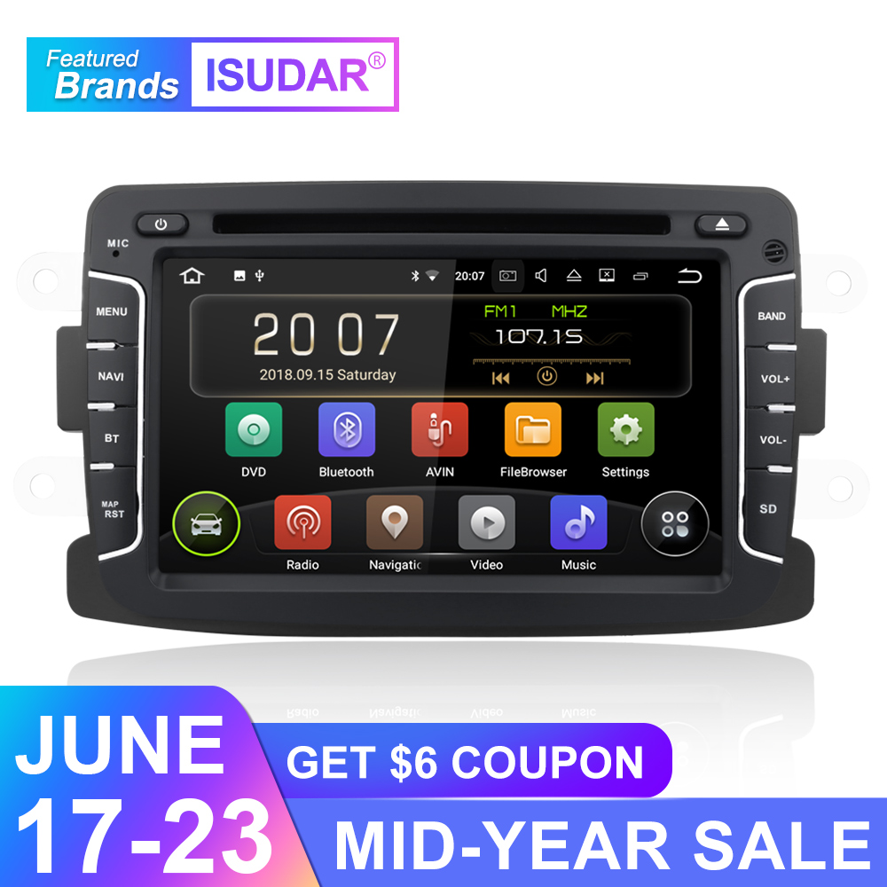 Isudar 2 Din Auto Radio Android 9 For Dacia/Sandero/Duster/Renault/Captur/Lada/Xray 2/Logan2 Car Multimedia Video Player GPS DVR