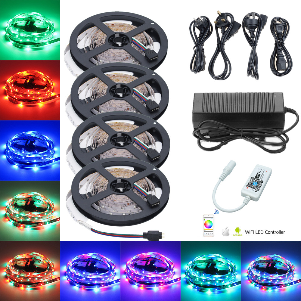 RGB LED sloksne 5m 10m 15m 20m 12V SMD 2835 WiFi LED sloksne IP20 60leds / m Elastīga lentes apgaismojums + WiFi RGB kontrolleris + LED draiveris