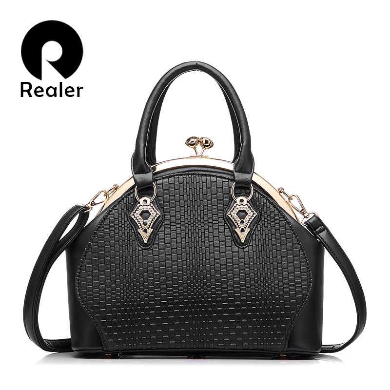 2fdc9108cdfa REALER бренд дизайн сумки Женская мода черная сумка Высокое качество  Искусственная кожа Сумка Дамы отделении сумки