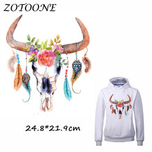 ZOTOONE Flower Feather Bull Head Patch for Clothes T Shirt Ironing on Patches Stickers DIY Heat Transfer Accessory Appliques C