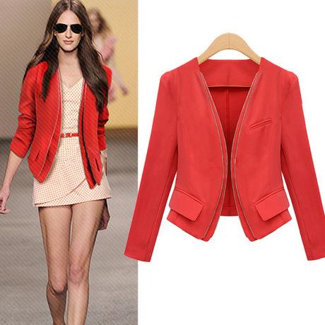 Black and Red 2014 Fashion Women Coat Short OL Double Zippers ...