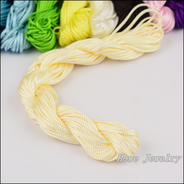 Hot 6 pcs 13 meters / pcs Multi 1.5 mm nylon rope macrame beads Bead Thread silk cord chain necklace beads braided cord