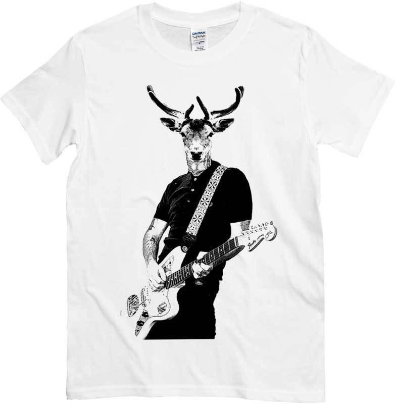 T Shirt Cervo Rock Con Chitarra Maglietta Bianca Chitarrista E Testa Di Animale