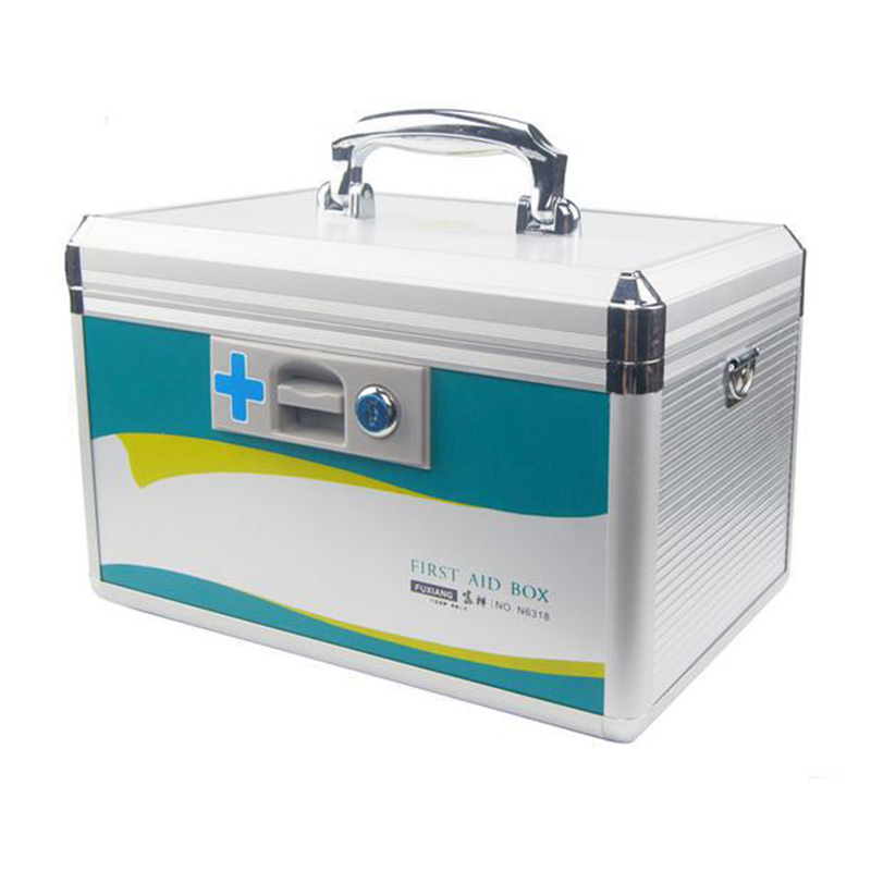 Aluminum alloy cabinet domestic large lock first-aid kit, household receive box household items Items box self defense aluminum alloy outdoor save first aid drug medicine kit small gallipot cartridge key chain fc