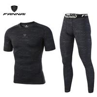 FANNAI New 2017 Fitness Men Sets Compression Shirts Leggings Base Layer Crossfit Brand Short Sleeve T