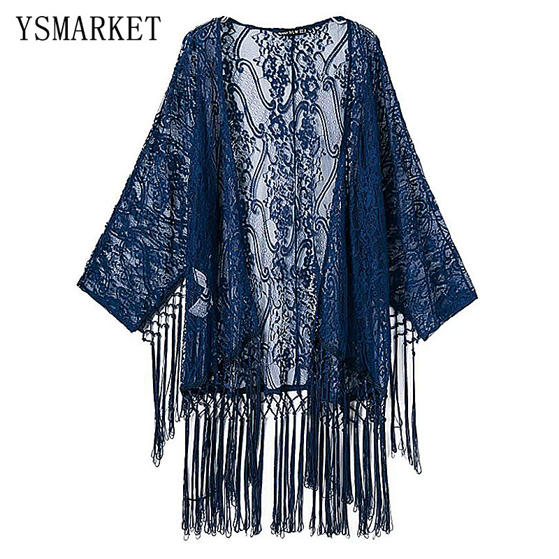 Summer Sexy Hollow Out Loose Lace Beach Bikini Cover Up New Women Long Sleeve Tassel Amice Swimwear Bathing Suits QLF022
