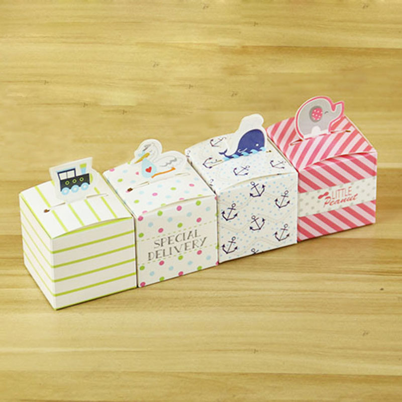 Nautical Whale Favor Gift Boxes For Candy , Wedding Favors And Gifts Candy Box Baby Shower Party Decoration 10Pcs