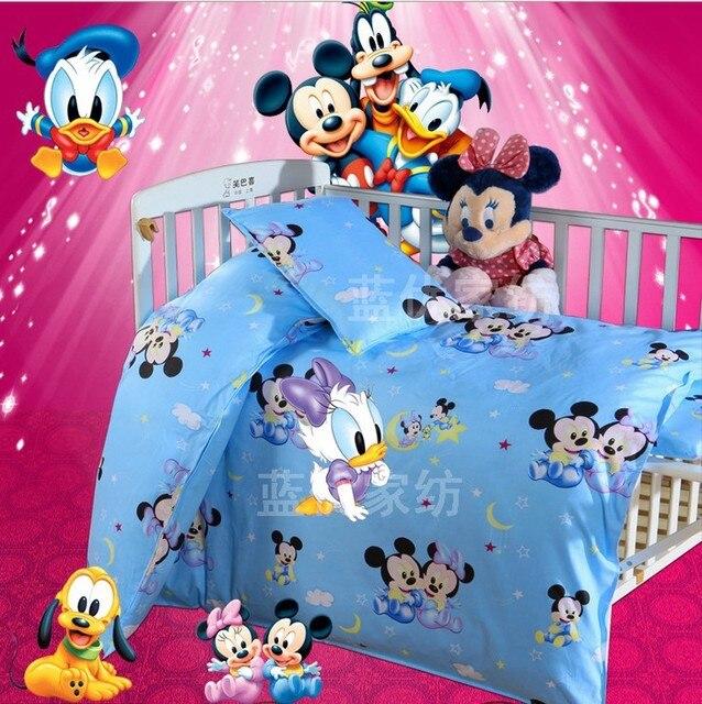 Promotion! 3PCS Kitty Mickey Baby Bedding Sets Crib Cot Bassinette (Duvet Cover+Sheet+Pillowcase)