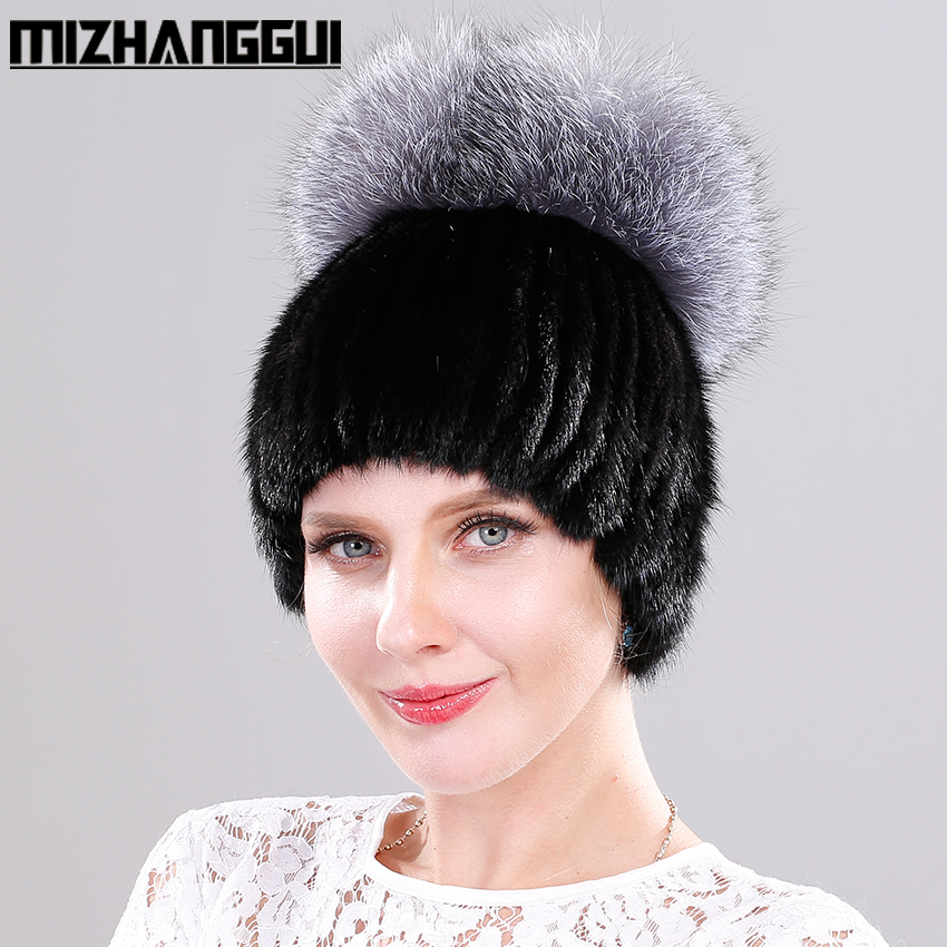 Women's Winter Mink Hats Natural Mink Fur Knitted Beanie Cap with Fox Fur Pompom Top Good Quality Women's Fur Hat for The Winter women s winter beanie hat wool knitted cap shining rhinestone beanie mink fur pompom hats for women