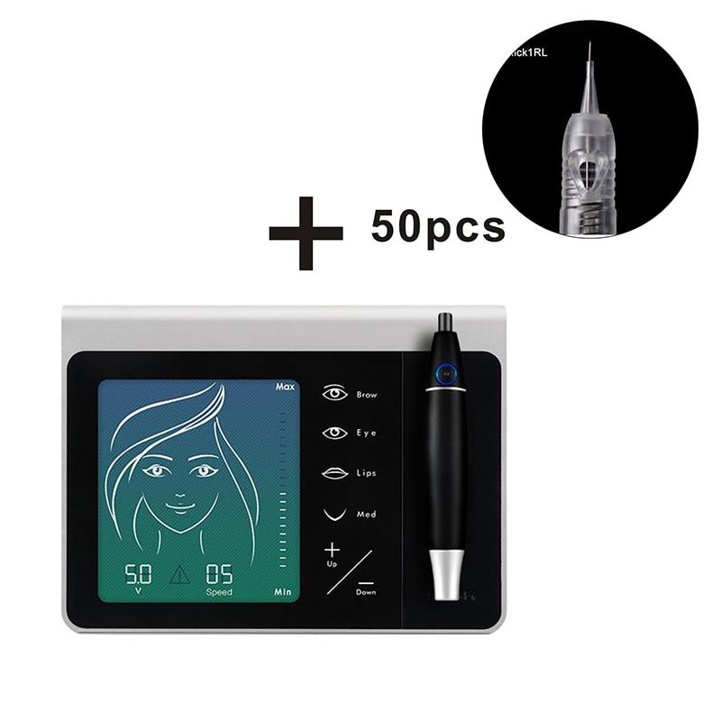 1set Professional Permanent Makeup Eyebrow Supplies Digital Microblading Tattoo Machine Pen Kit with 50pcs Needles Accessories недорго, оригинальная цена