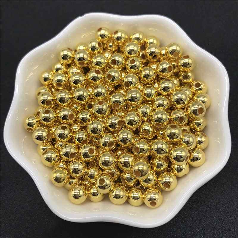 4mm 6mm 8mm 10mm Golden Imitation Pearls Acrylic Beads Round Pearl Spacer Loose Beads For Jewelry Making