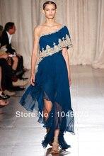 Haute Couture Schulter Embrodiery Kristall Chiffon vestidos de fiesta formales Abendkleid N050